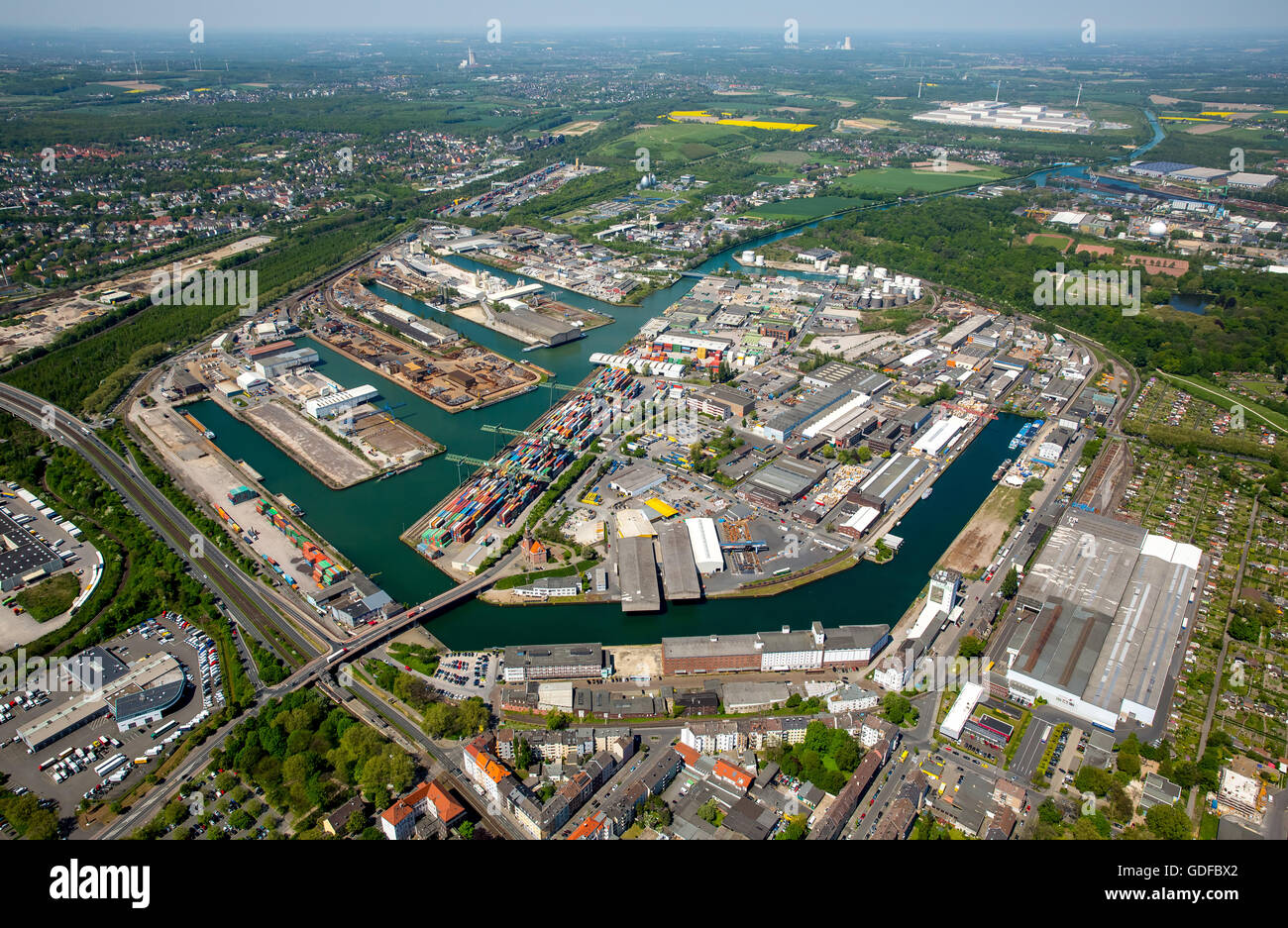 Aerial view, Dortmunder port, inland port, Dortmund-Ems Canal, container port, the Port of Dortmund AG, Dortmund, - Stock Image
