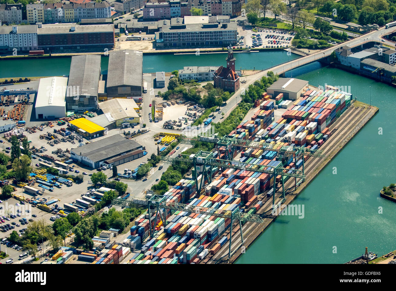 Aerial view, containers at the Port of Dortmund, inland port, Old Port Authority, Dortmund-Ems Canal, container - Stock Image