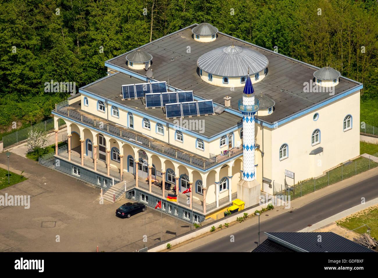 Aerial view, Fatih Mosque, Baesweiler, Niederrhein, North Rhine-Westphalia, Germany - Stock Image