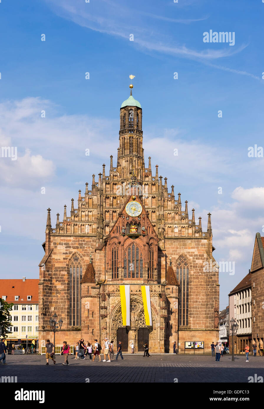 Frauenkirche, Church of Our Lady, Main Market, historic centre of Sebald, Nuremberg, Middle Franconia, Franconia, Stock Photo