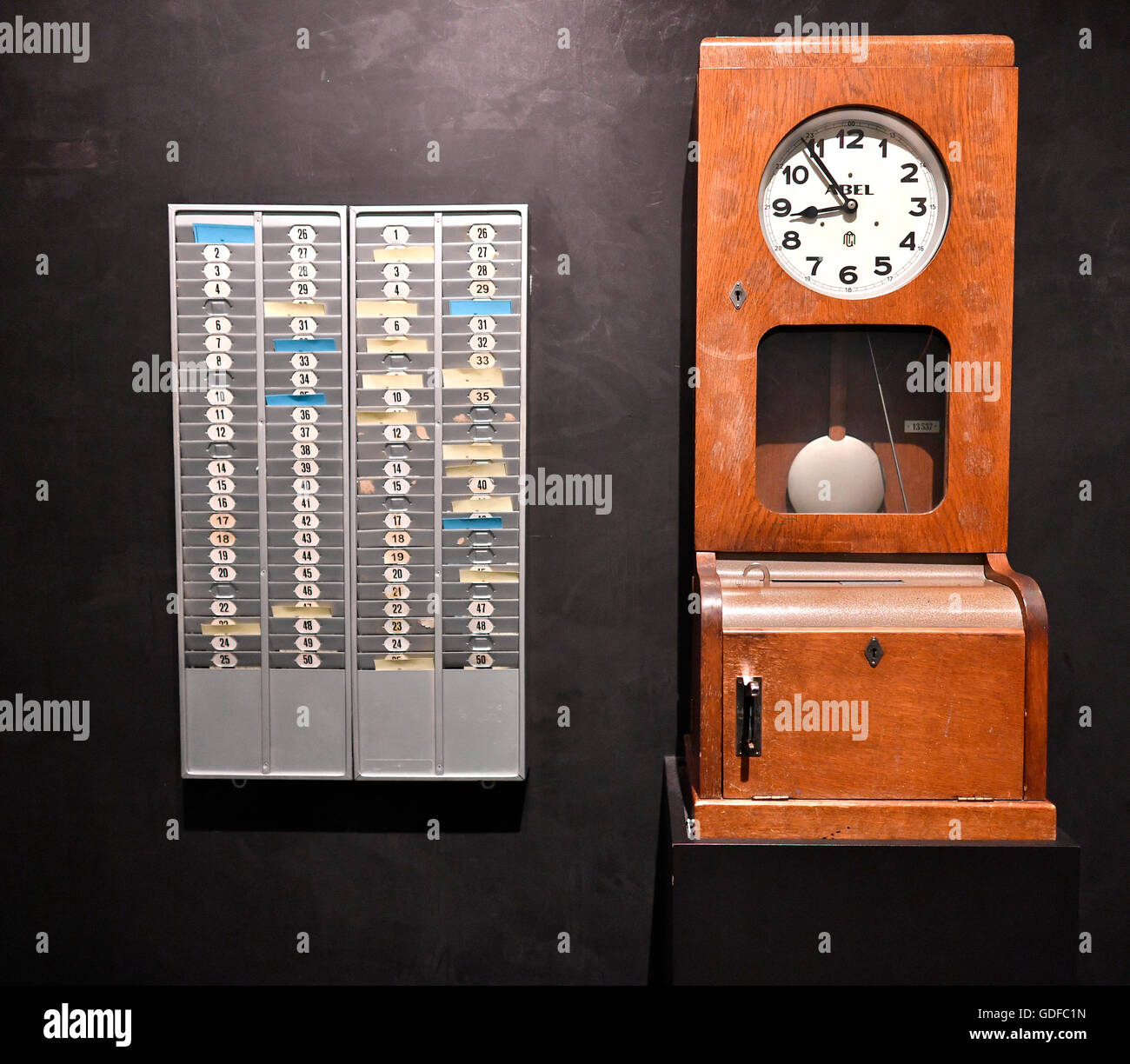 """Time clock, timer, exhibit, museum, """"The Story of Berlin"""", Berlin, Germany Stock Photo"""