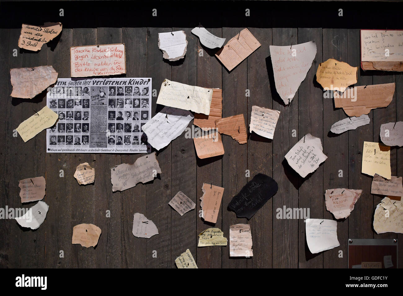 Search ads, list with names of missing relatives, exhibit, museum, interactive exhibition, 'The Story of Berlin', - Stock Image