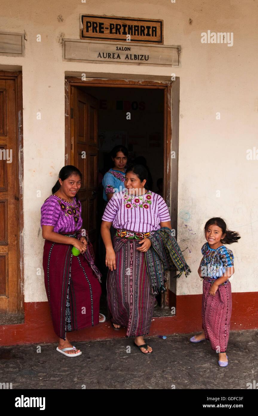 School of Santiago Atitlan, Lago de Atitlan, Guatemala, Central America Stock Photo