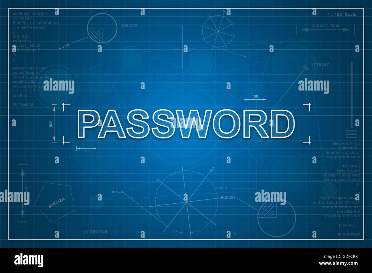 Password on paper blueprint background business concept stock photo password on paper blueprint background business concept malvernweather Gallery