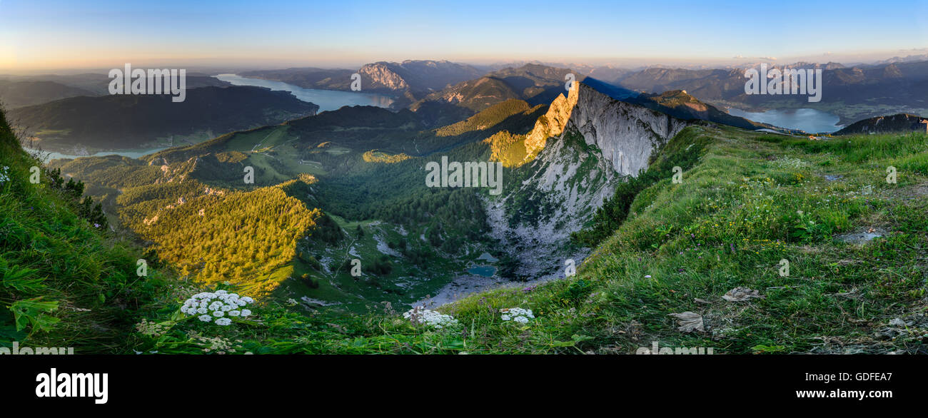 Sankt Gilgen: View from mount Schafberg to lake Mondsee, lake Attersee and lake Wolfgangsee (left to right ) , the Stock Photo