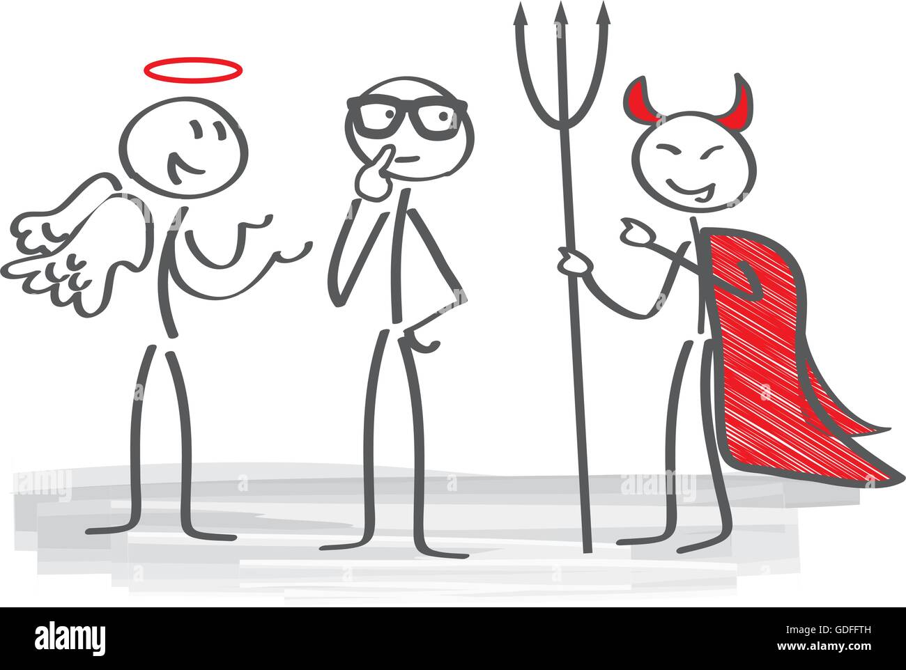 Businessman with angel and demon coach - Stock Image