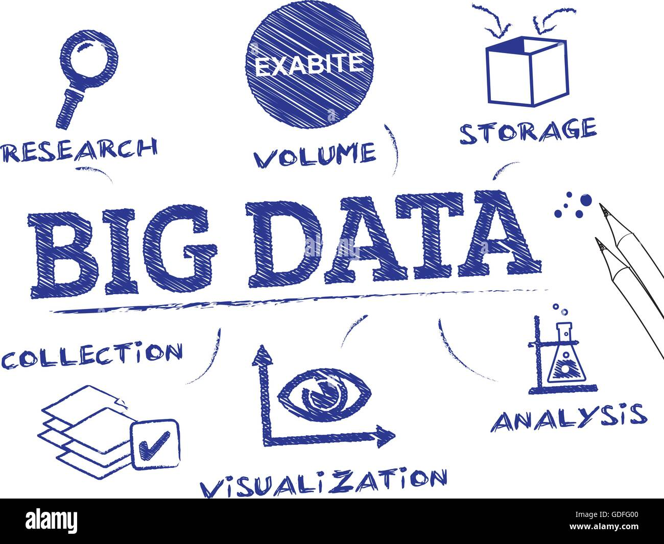 Big Data. Chart with keywords and icons - Stock Image