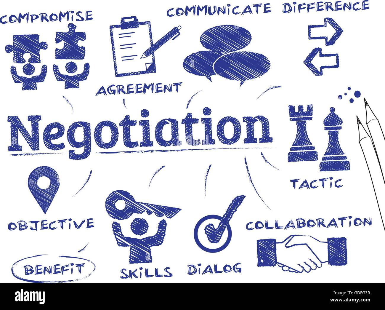Negotiation. Chart with keywords and icons - Stock Image