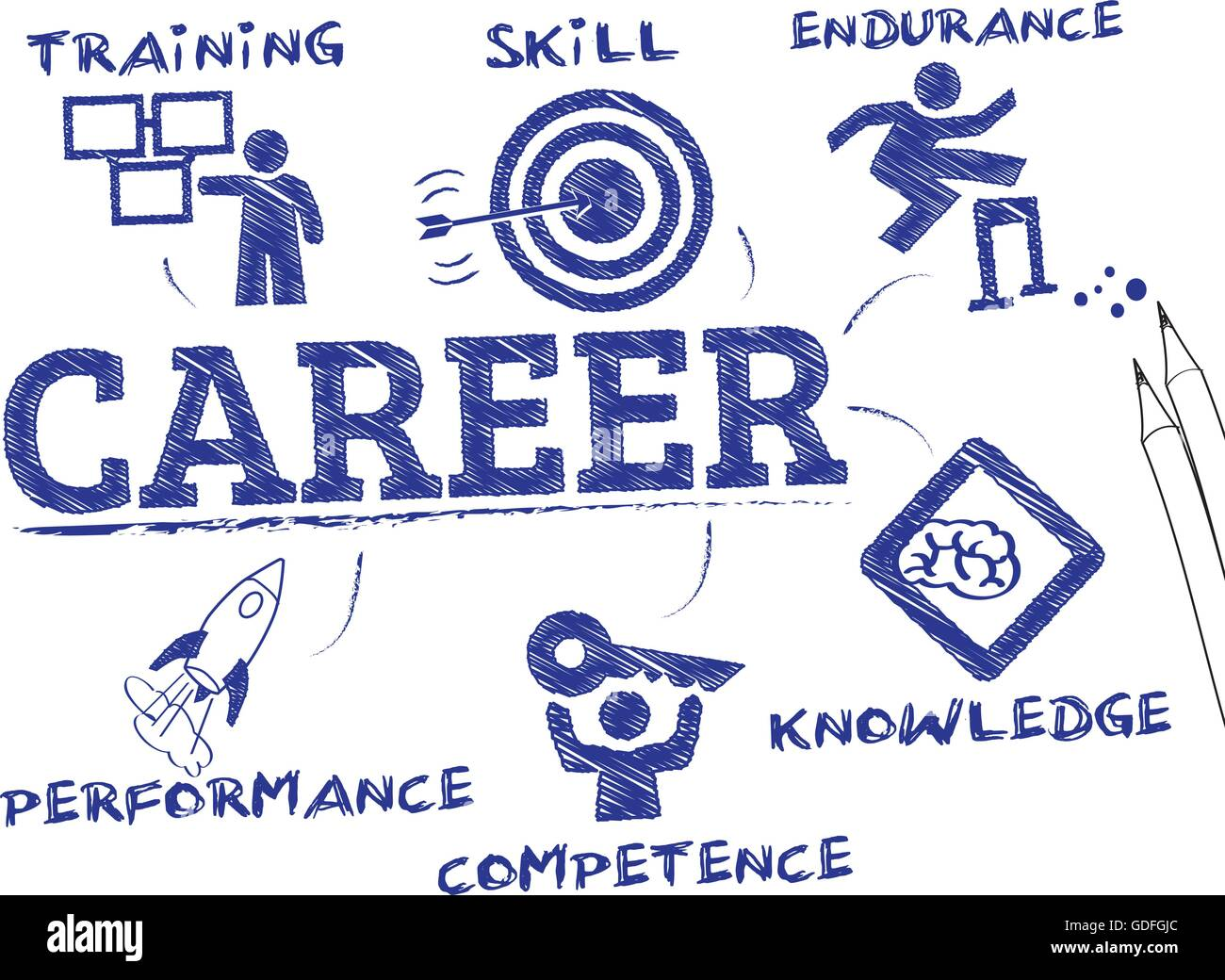 Career concept. Chart with keywords and icons Stock Vector