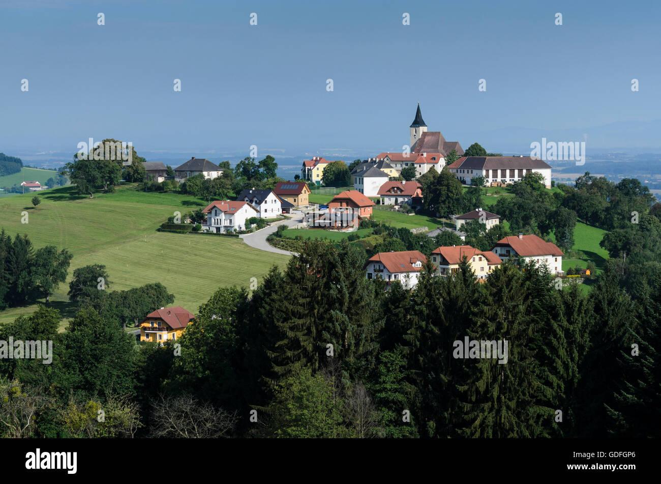 St. Peter in der Au: overlooking the village of St. Michael, Austria, Niederösterreich, Lower Austria, Mostviertel - Stock Image