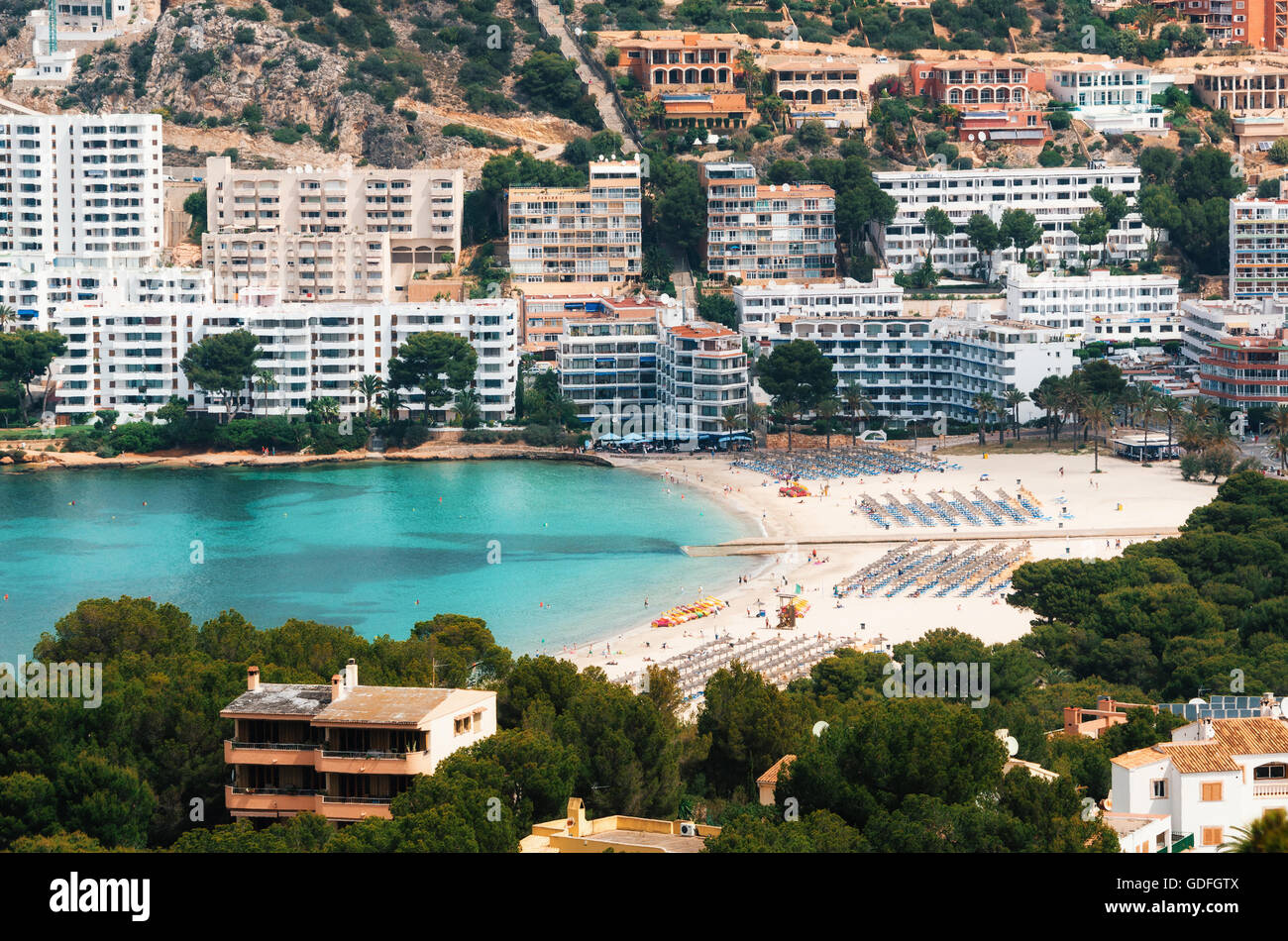Beautiful view of Santa Ponsa and the beach, Mallorca - Stock Image