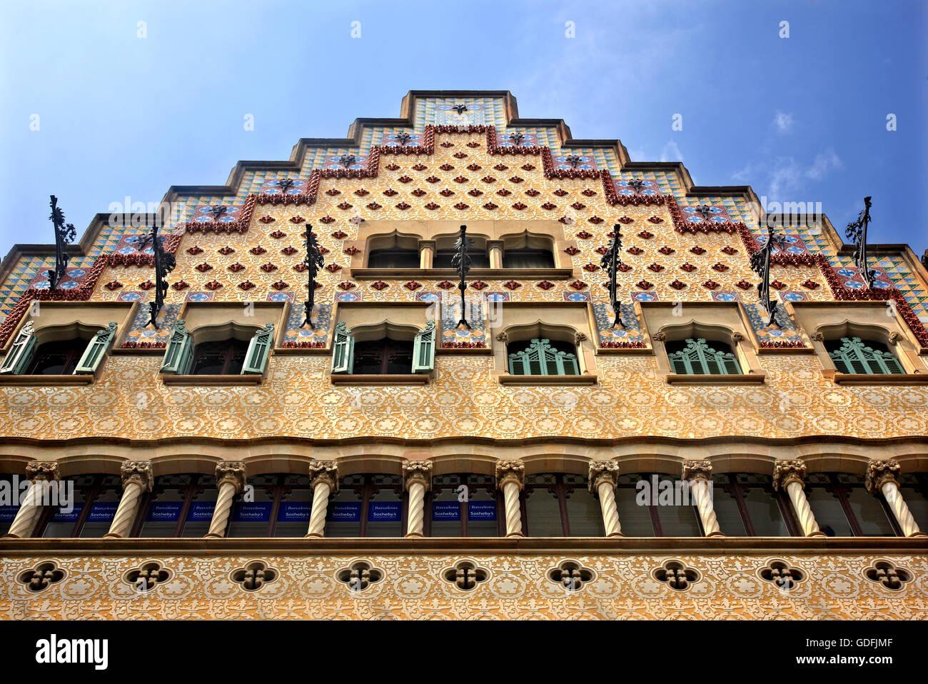 'Detail' from casa Amatler (1900 – architect, Josep Puig i Gadafalch), Passeig de Gracia, Eixample, Barcelona, - Stock Image