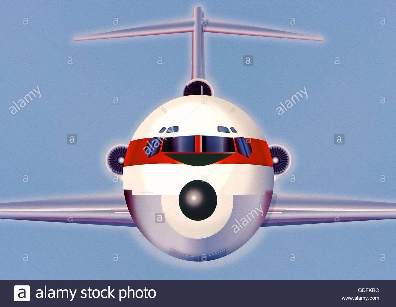 retro aircraft passenger commercial jet airliner illustration - Stock Image