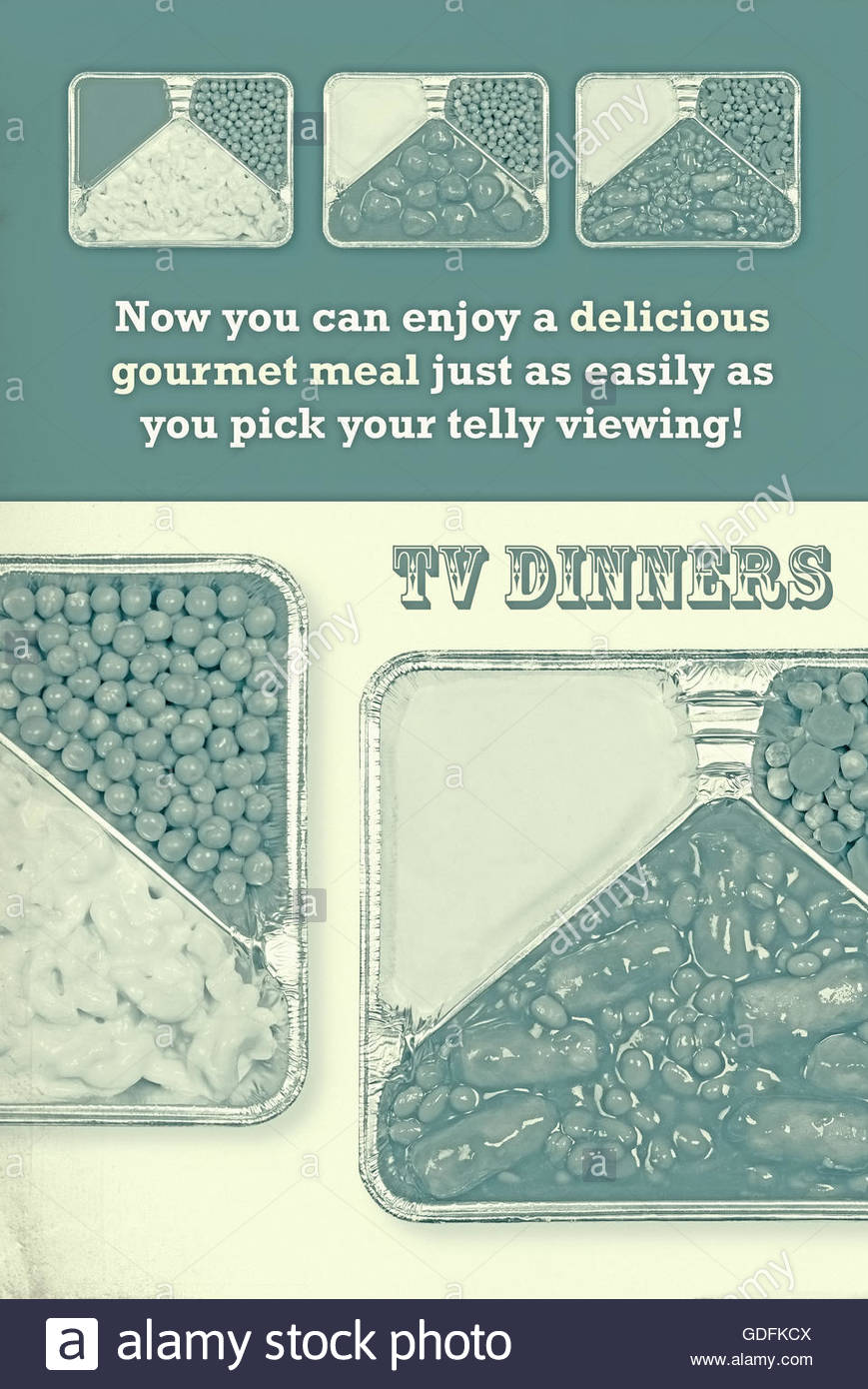 TV dinner tray vintage retro advert meal aluminium food dishes - Stock Image