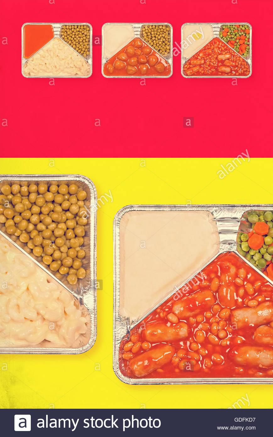 TV dinner tray vintage retro advert meal aluminium food dishes - Stock Image