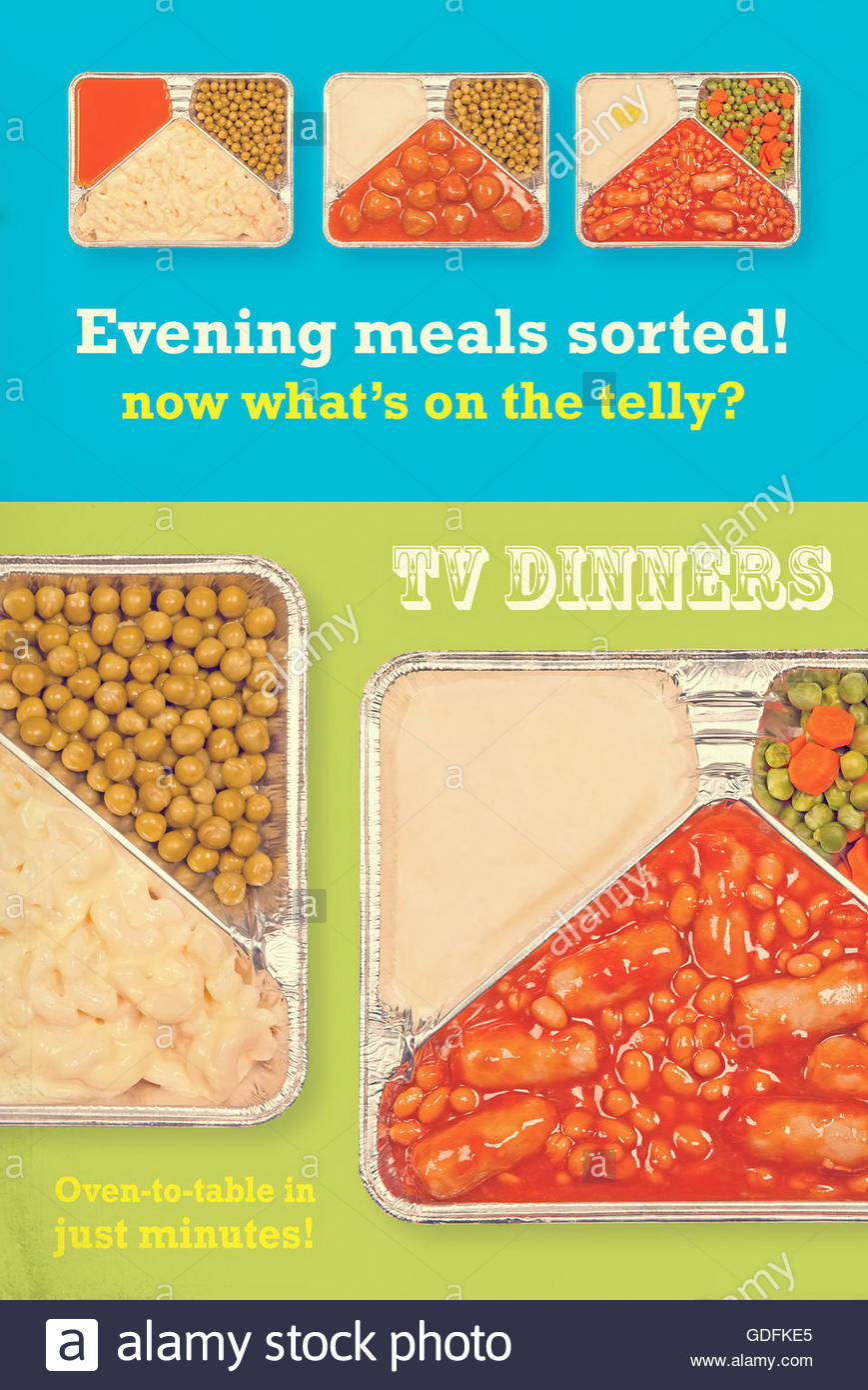 Junk food advertising television stock photos junk food tv dinner tray vintage retro advert meal aluminium food dishes stock image forumfinder Gallery