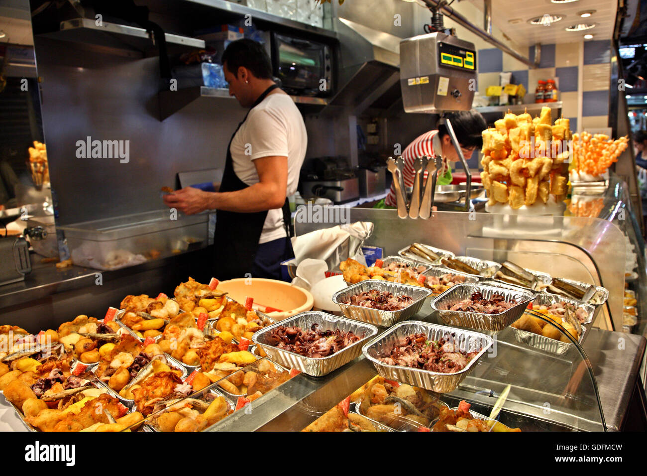 Seafood display for take away in the Boqueria the famous food market next to the Rambla of Barcelona, Catalonia, Stock Photo