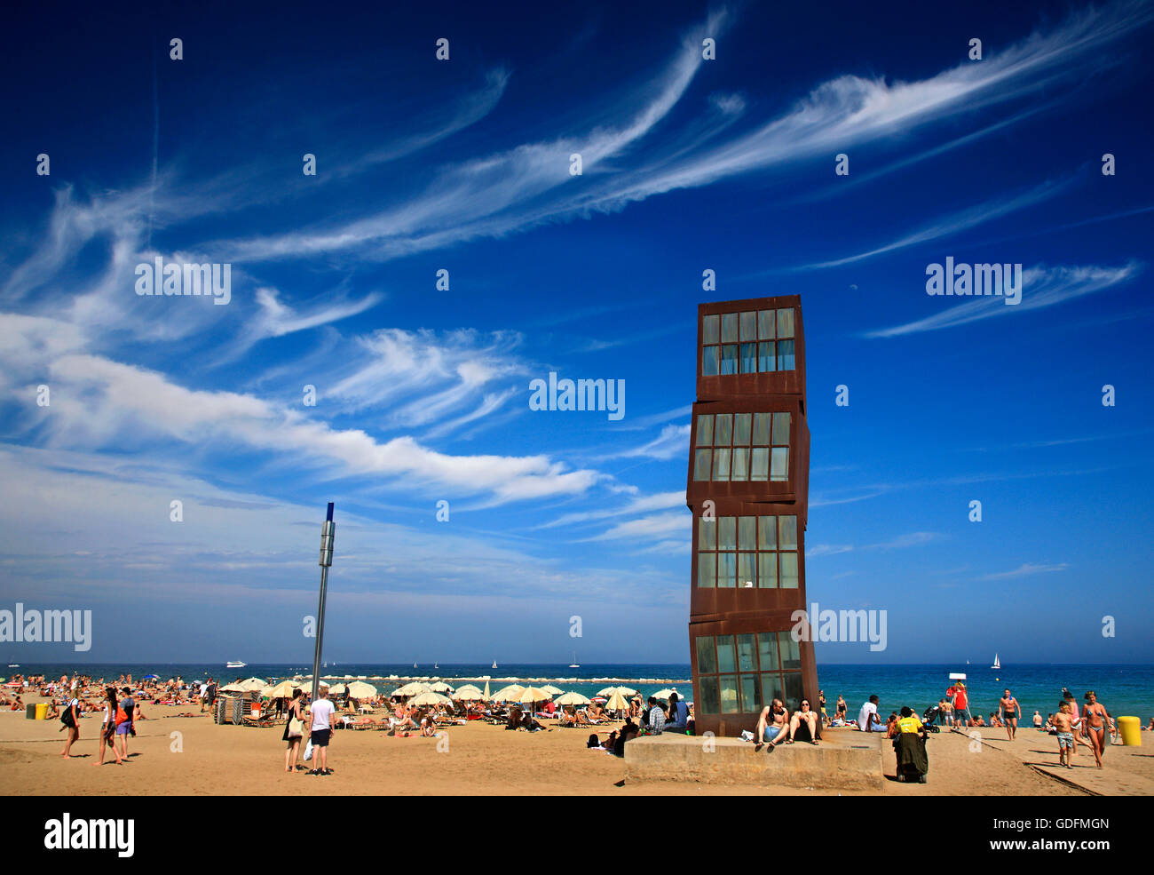 'L'estel ferit'  artistic installation by Rebecca Horn, Barceloneta beach, Barcelona, Catalonia, Spain. - Stock Image