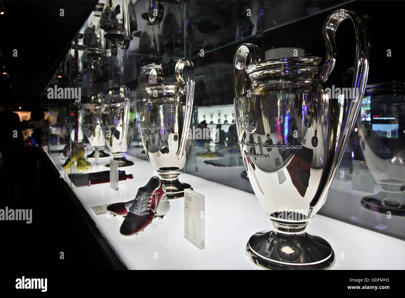 The Champions League cups won by FC Barcelona, in the FC Barcelona museum, Catalonia, Spain. - Stock Image