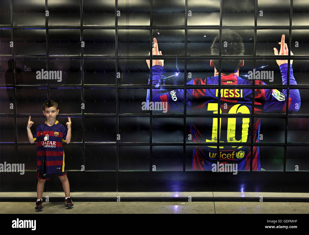 Next generation 'Messi' in the FC Barcelona museum, Barcelona, Spain. - Stock Image