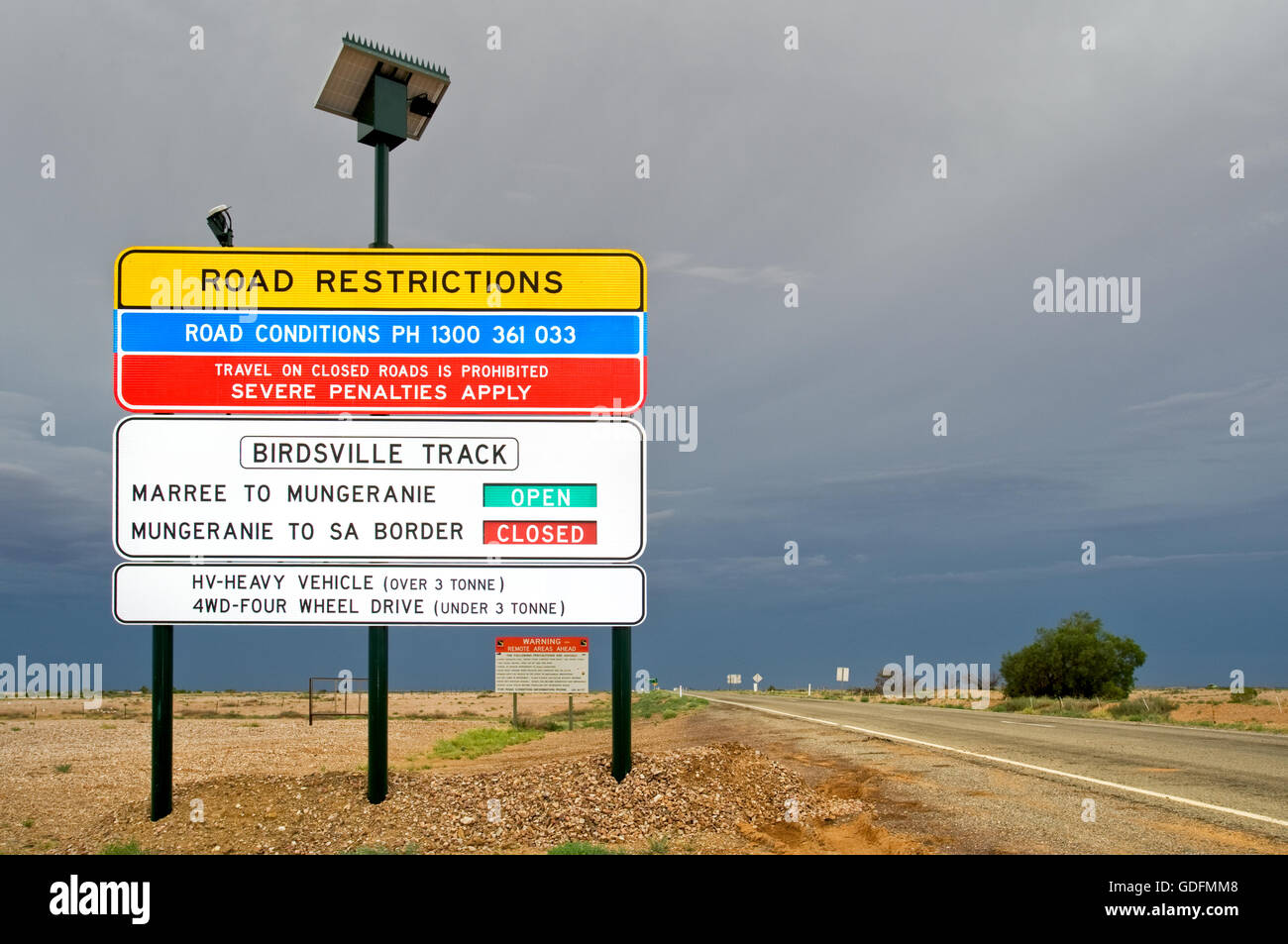 Road Restrictions on Birdsville Track after rain. - Stock Image