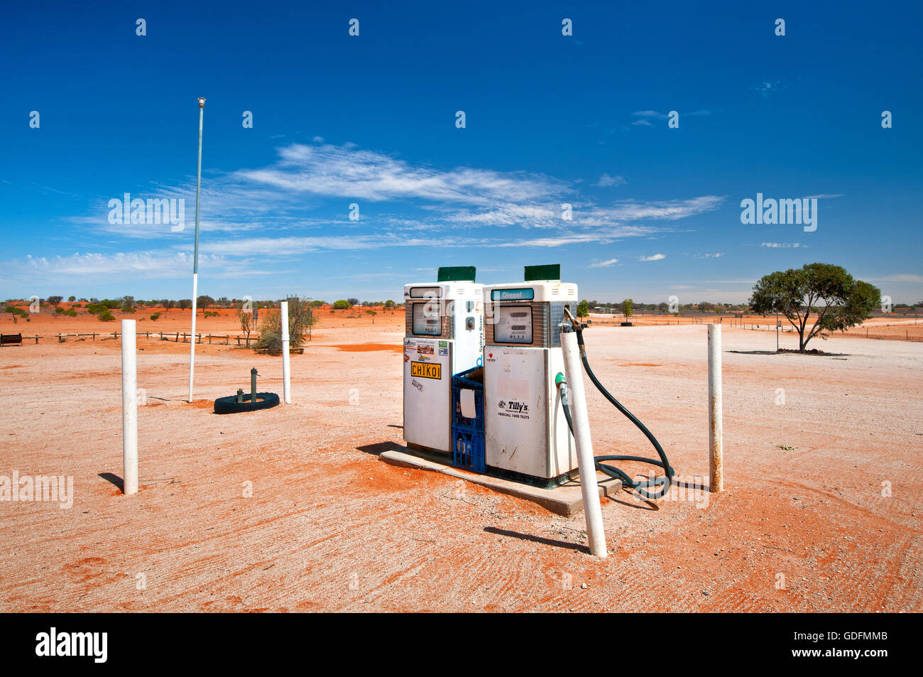 Fuel pumps of Cameron Corner Store in the middle of the desert. - Stock Image