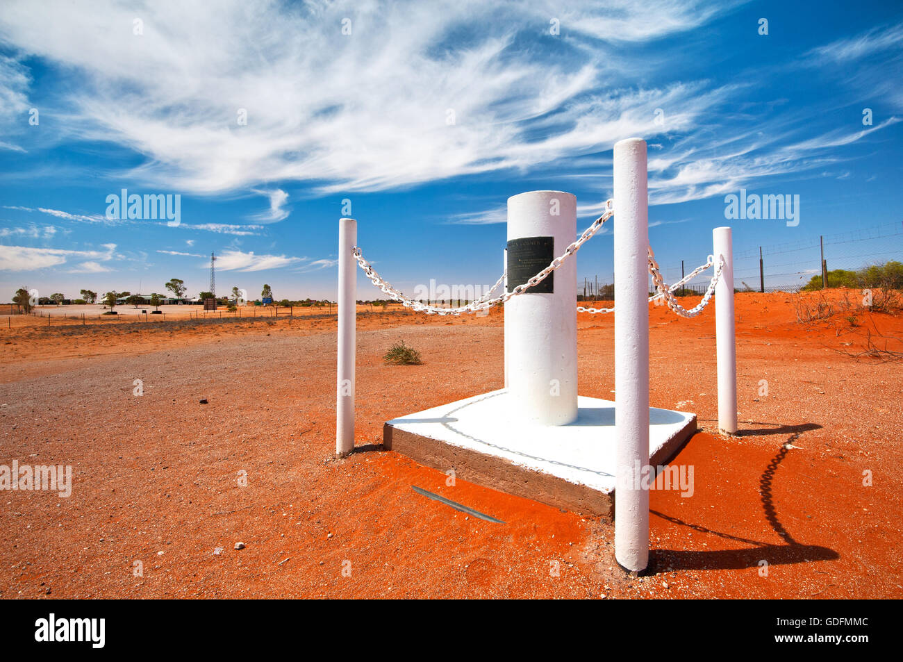 Cameron Corner Marker where the three states Queensland, New South Wales and South Australia meet. - Stock Image