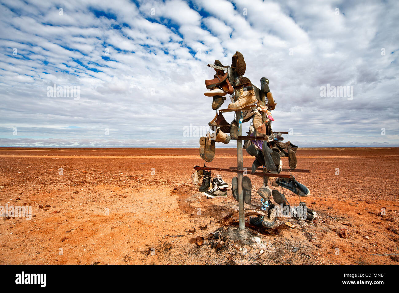 Funny shoe tree in the outback desert area of South Australia. - Stock Image