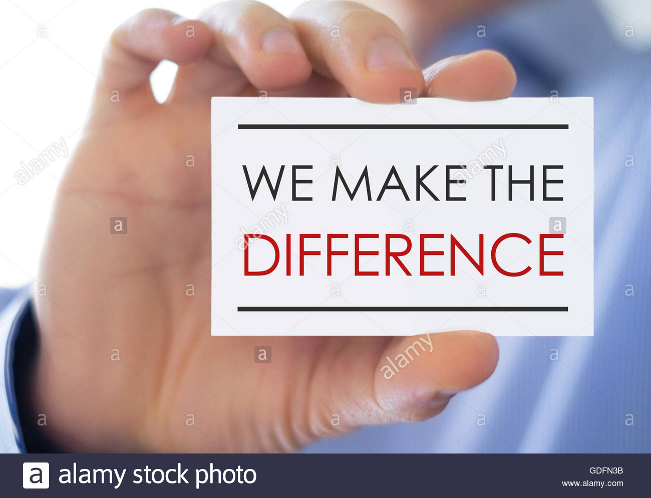 We make the difference - business card concept - Stock Image