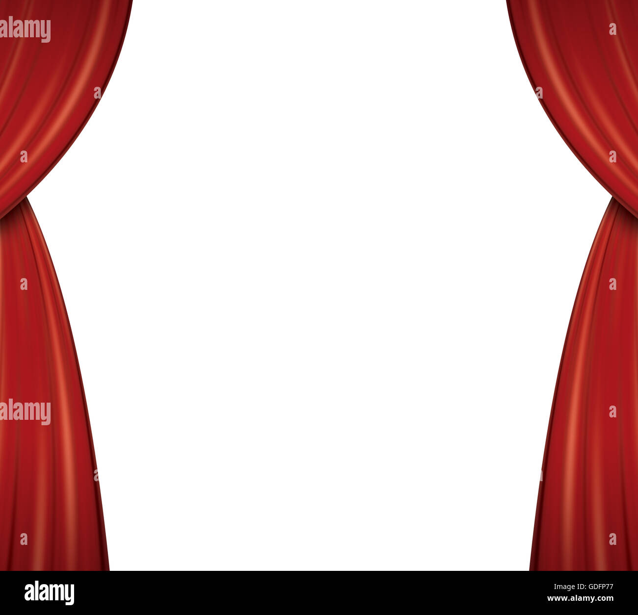 red theater curtains isolated on white background stock photo