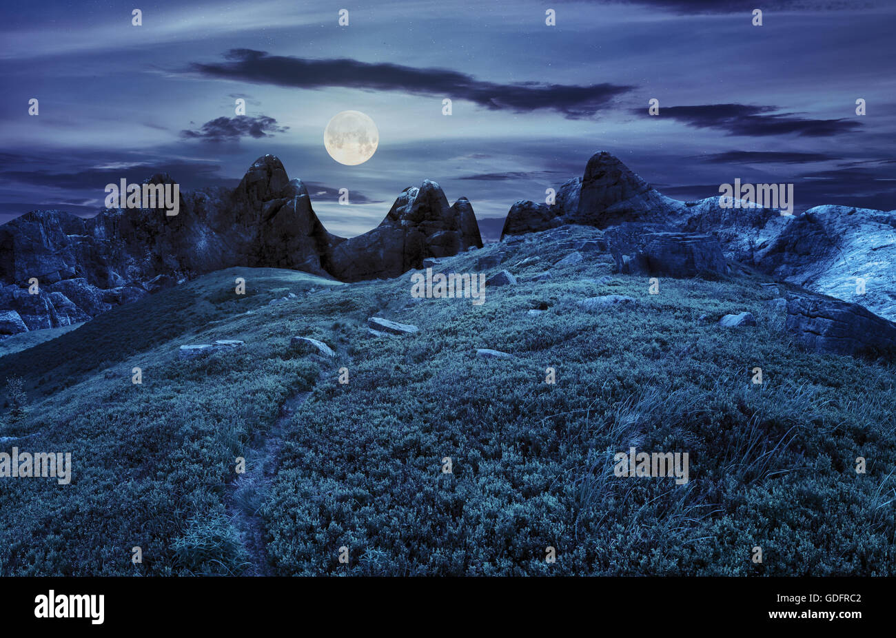 composite landscape with path through hillside meadow with white sharp boulders near cgi mountain peaks at night - Stock Image