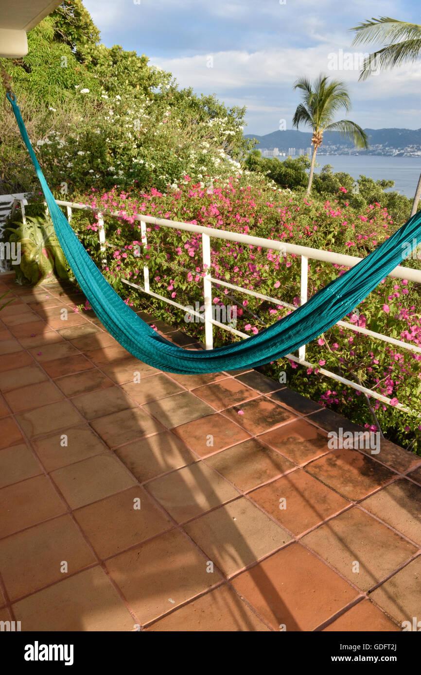 hammock on patio in Acapulco, Mexico - Stock Image