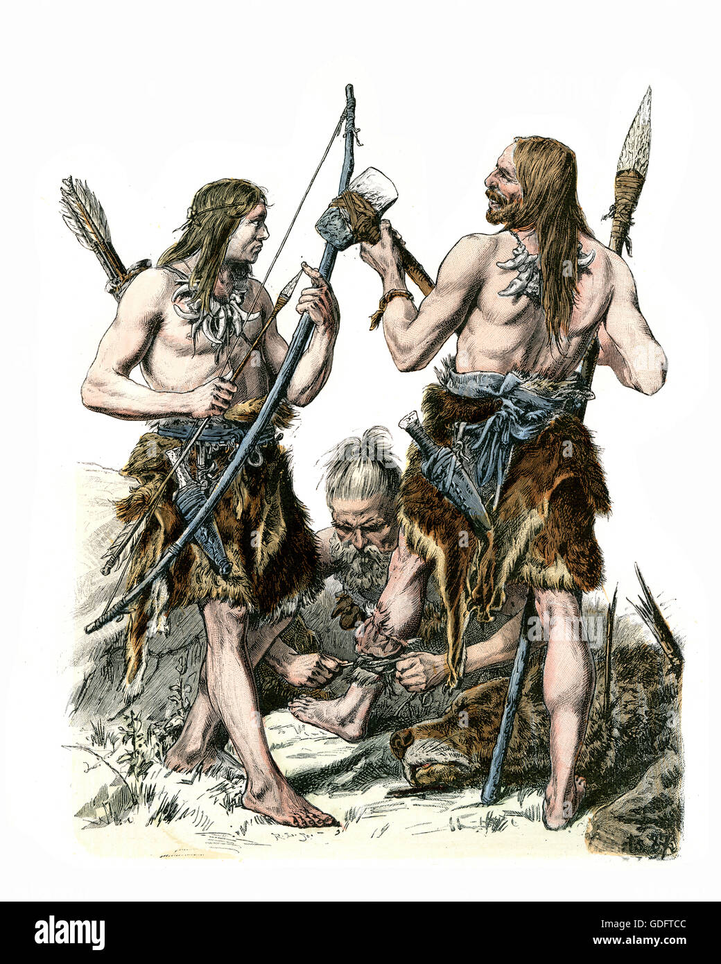 Fashions of the Stone Age, German hunters wearing animal skins with stone axe and spear - Stock Image