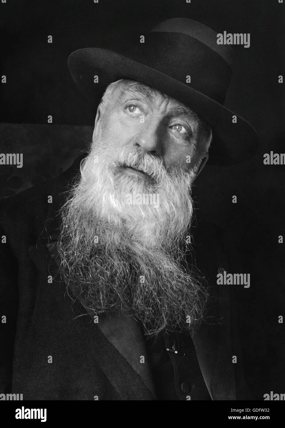 Auguste Rodin. Portrait of the French sculptor Auguste Rodin (François Auguste René Rodin: 1840-1917), - Stock Image