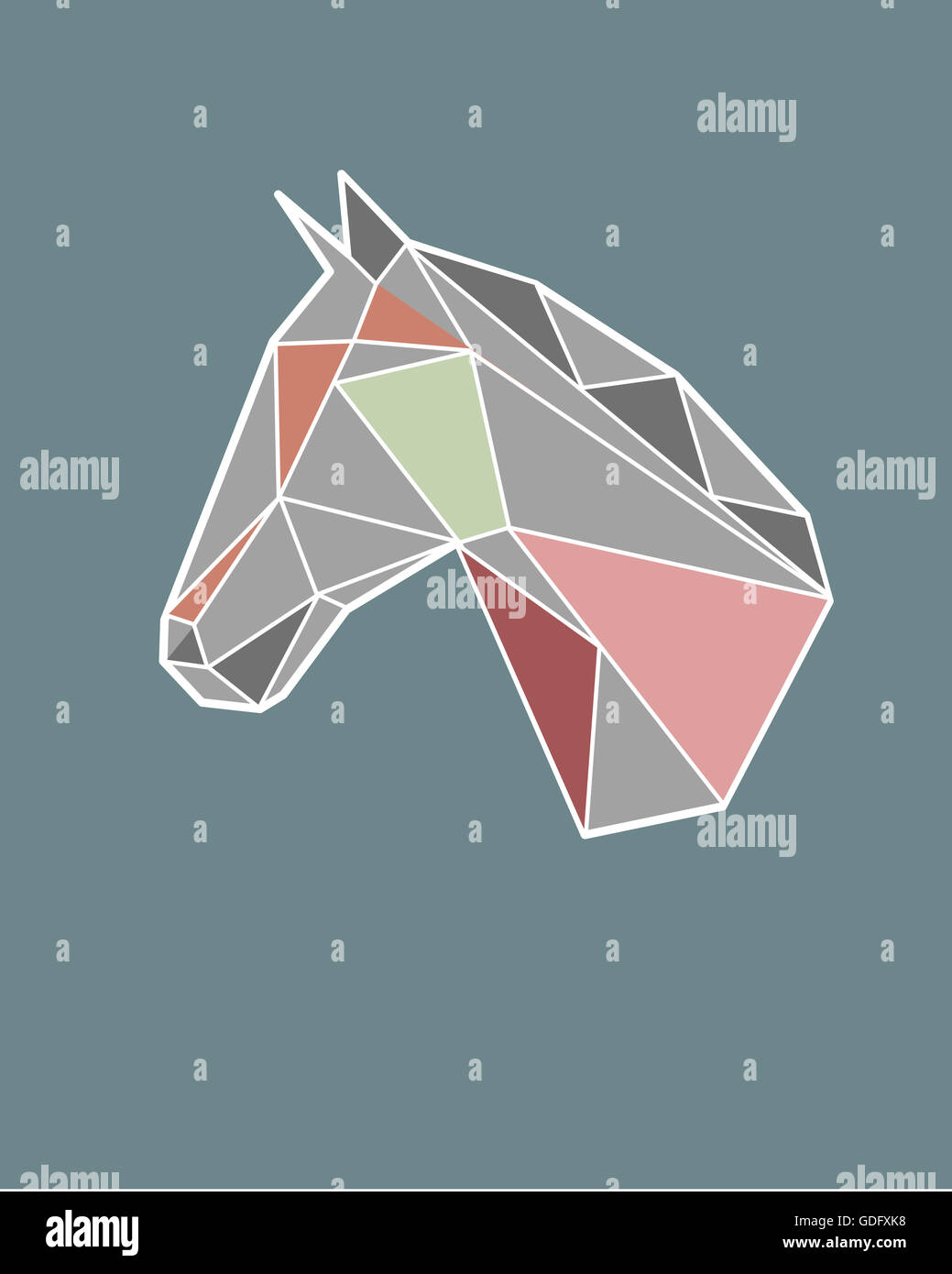 Hand Drawn Illustration Or Drawing Of A Geometric Horse Head Stock Photo Alamy