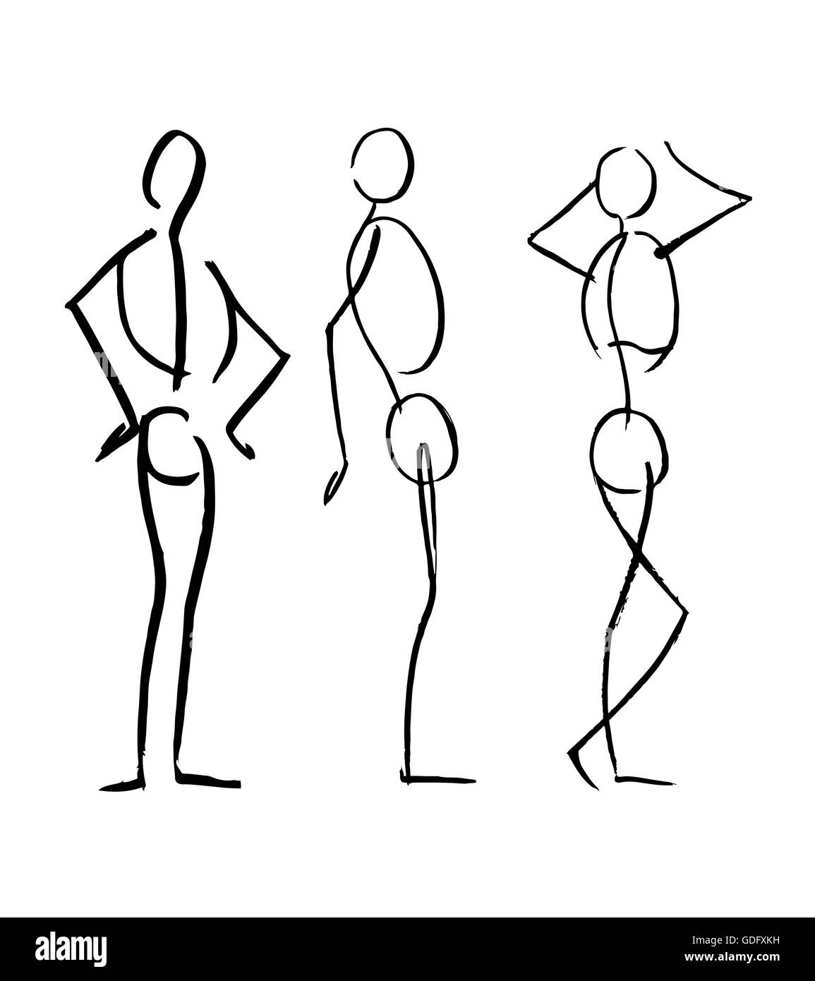 Hand Drawn Illustration Or Drawing Of Different Men Human Body Stock Photo Alamy