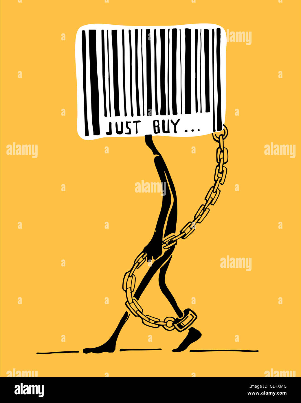 Hand drawn illustration or drawing of a man with a bar code instead of head and with chains - Stock Image