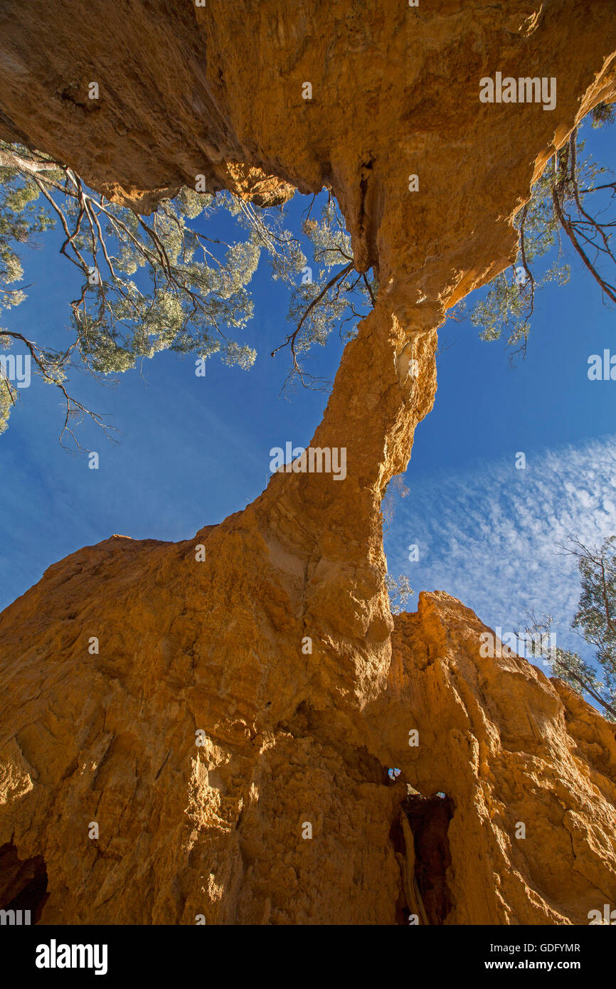 Unusual view from beneath high natural red stone arch with deep blue sky visible above unique formation created - Stock Image