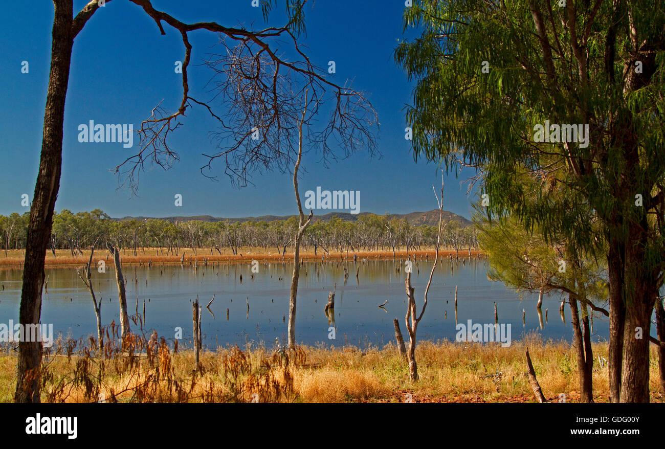 Vast calm blue waters of Lake Nuga Nuga with rugged Carnarvon ranges on horizon under blue sky in outback Qld Australia - Stock Image
