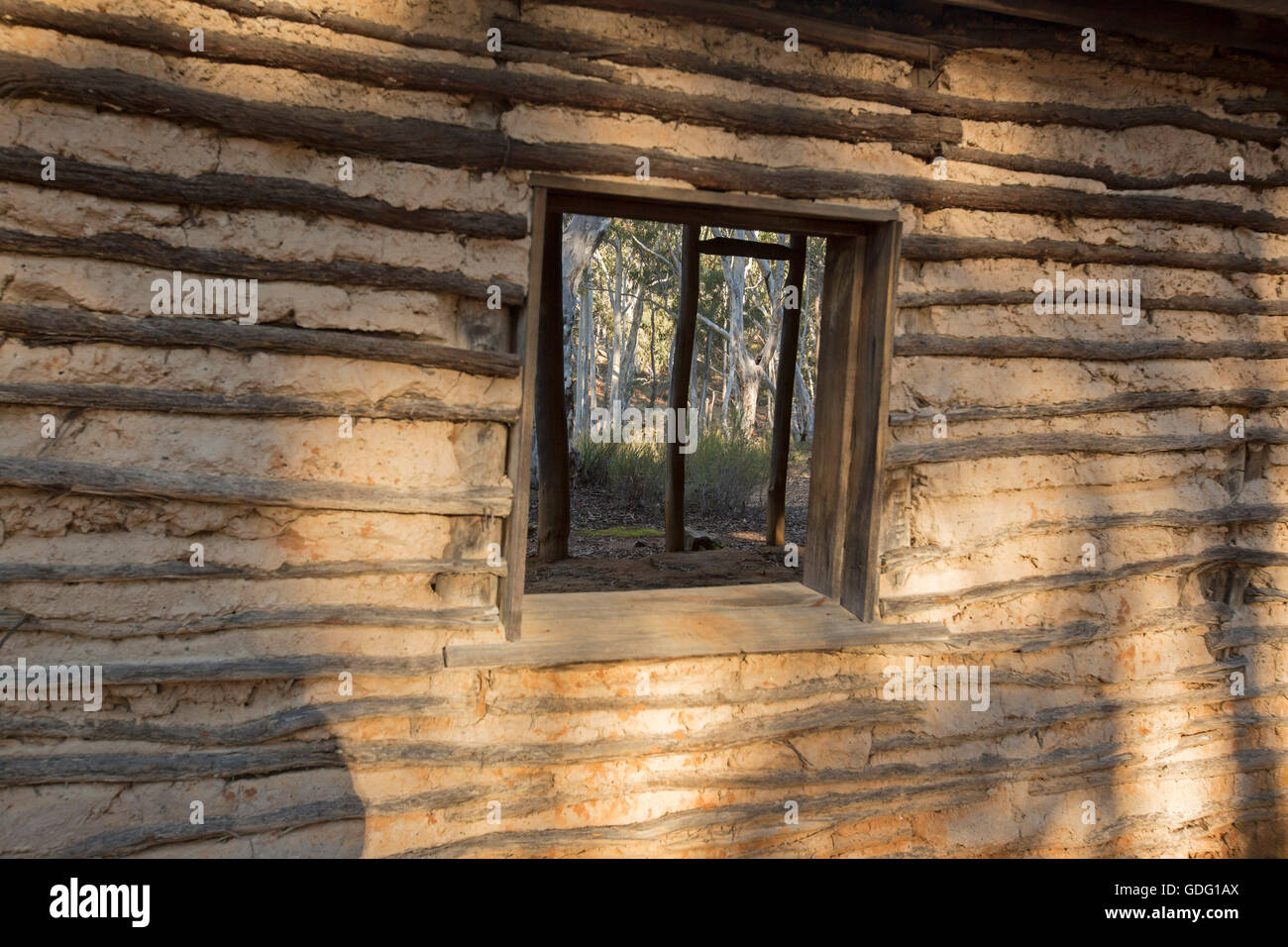 Walls & window of building made with wattle & daub showing a simple inexpensive method of construction with - Stock Image