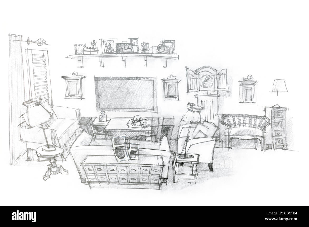 Architectural Hand Drawing Of Modern Living Room Interior Design