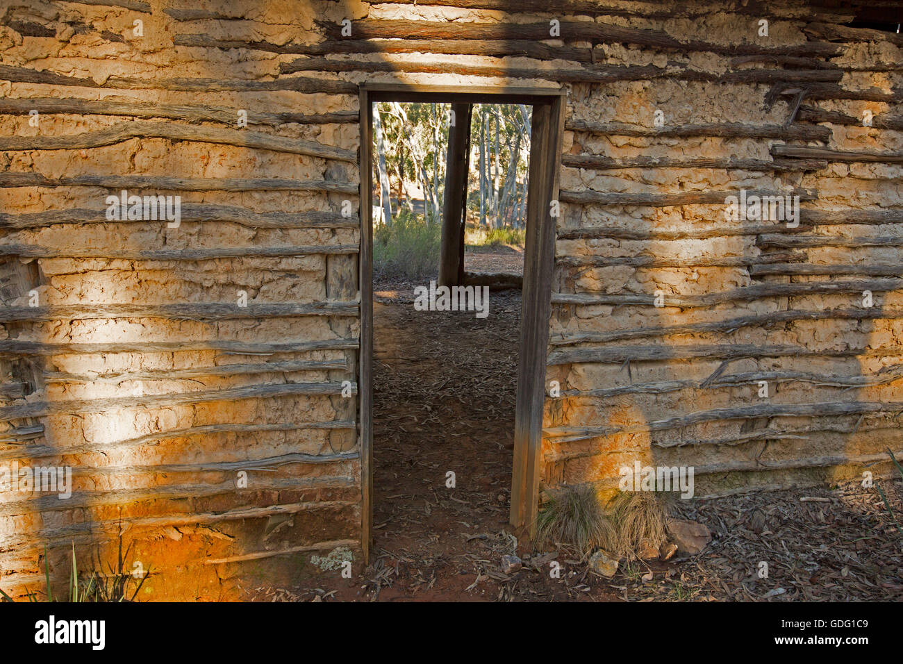 Walls & doorway of building made with wattle & daub showing a simple inexpensive method of construction - Stock Image