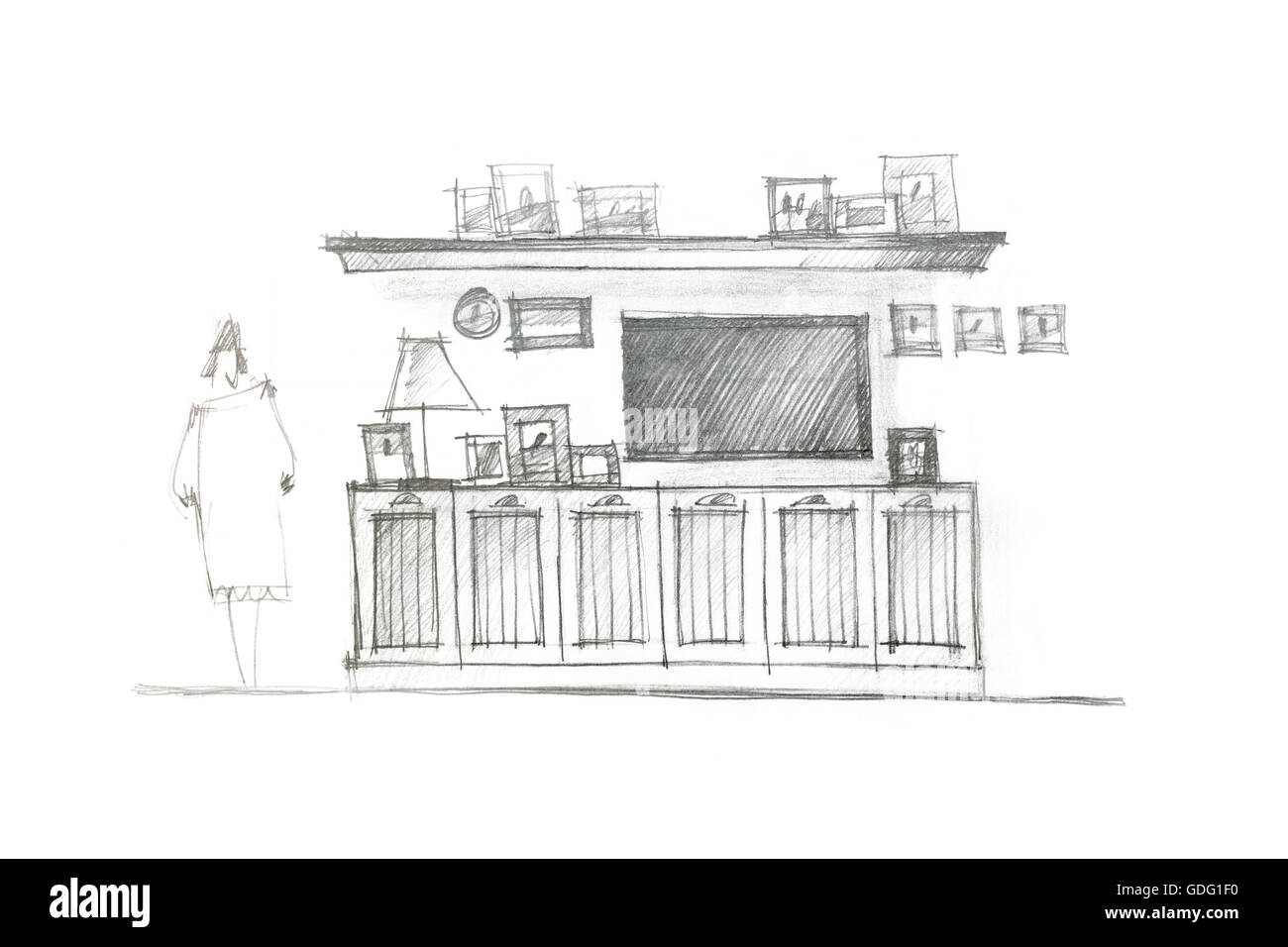 graphical drawing of an entertainment wall for interior living room Stock Photo