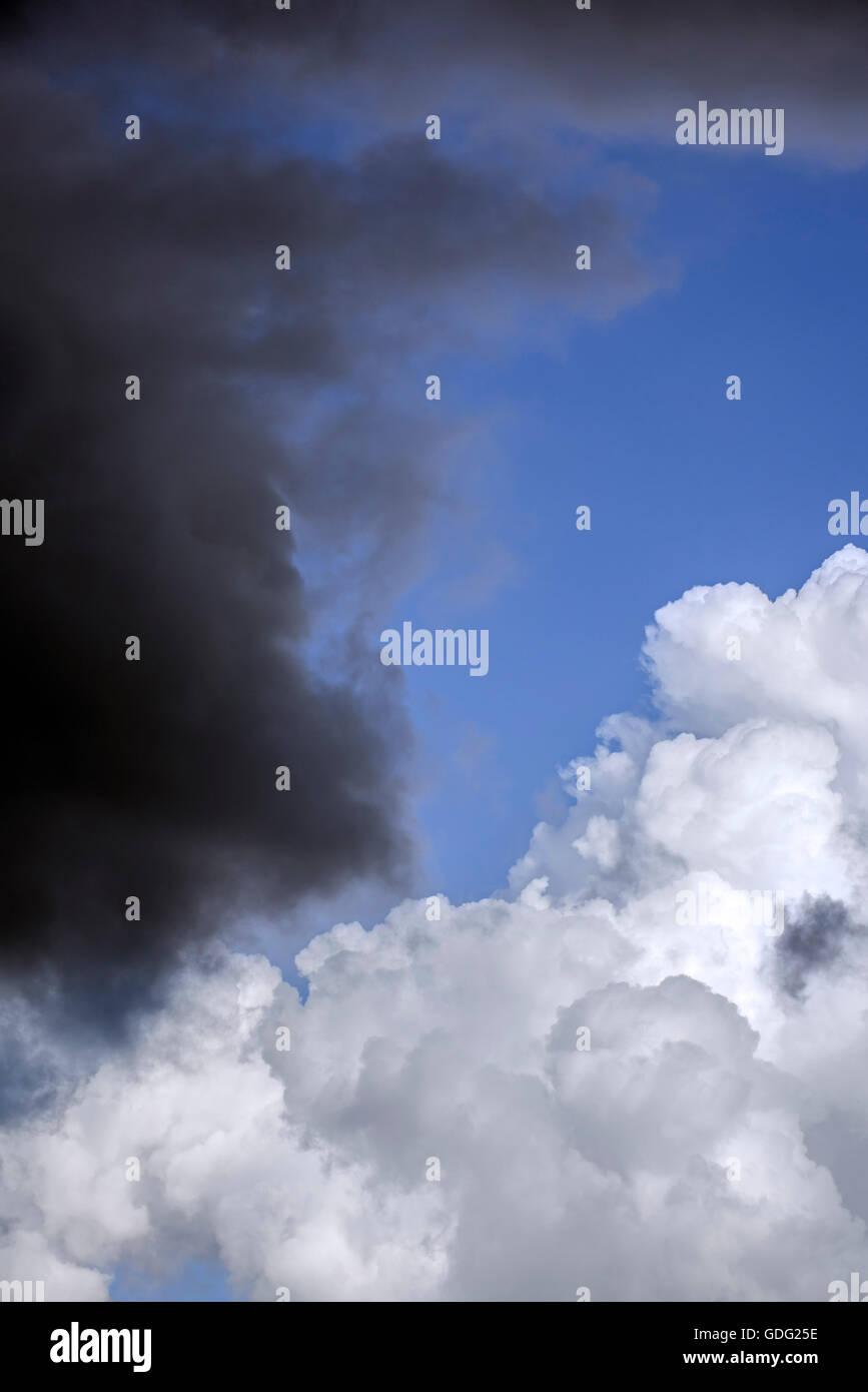 Cumulus congestus / towering cumulus cloud turning into Cumulonimbus calvus and black rain cloud covering the blue - Stock Image