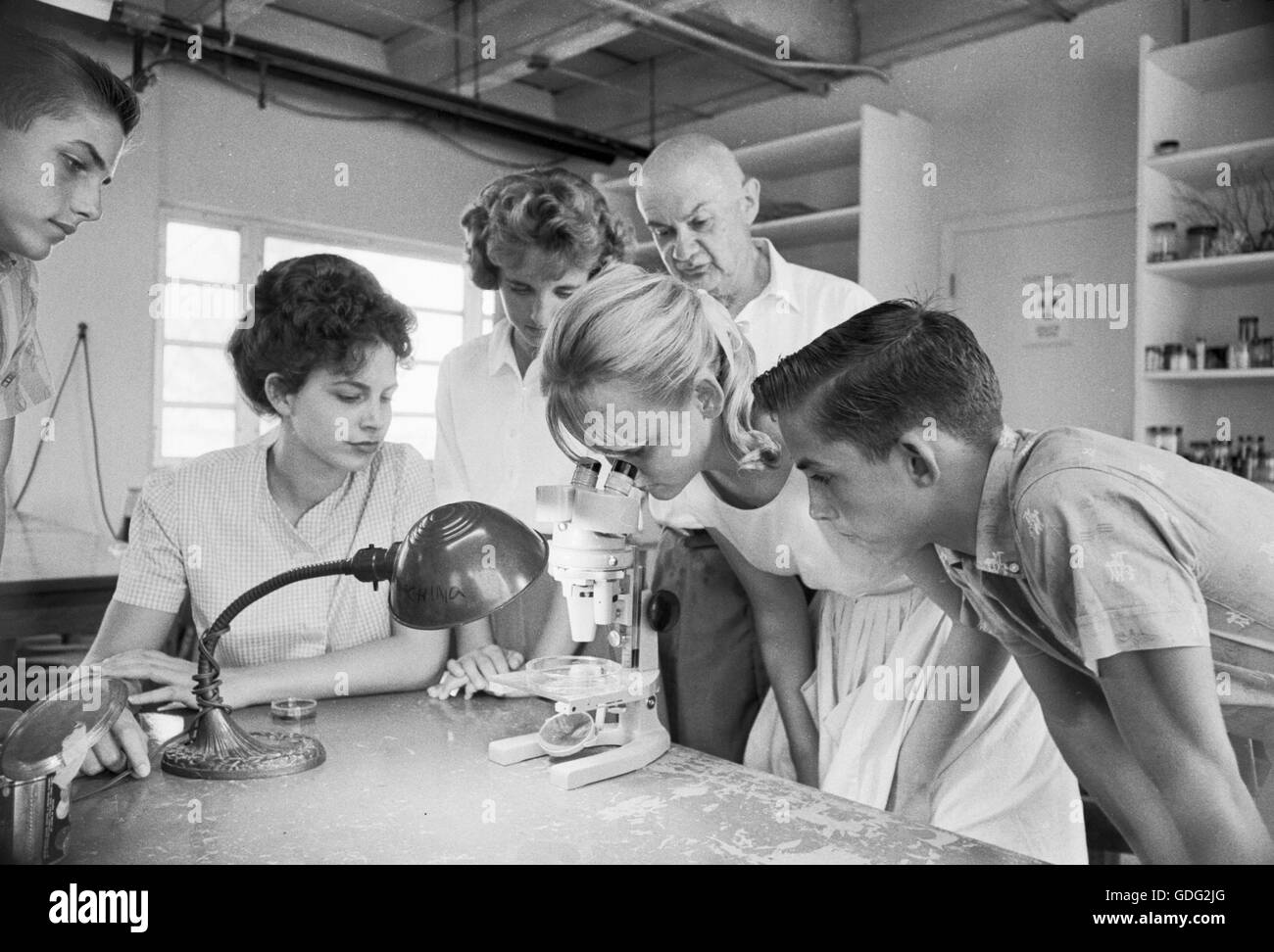 Roman Vishniac in his lab, with students, 1961 - Stock Image