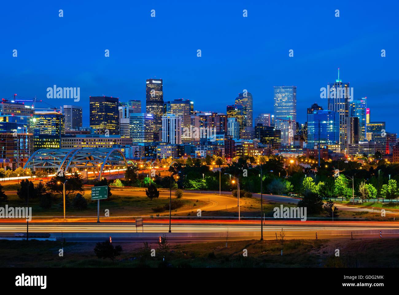 Downtown Denver Colorado at night - Stock Image
