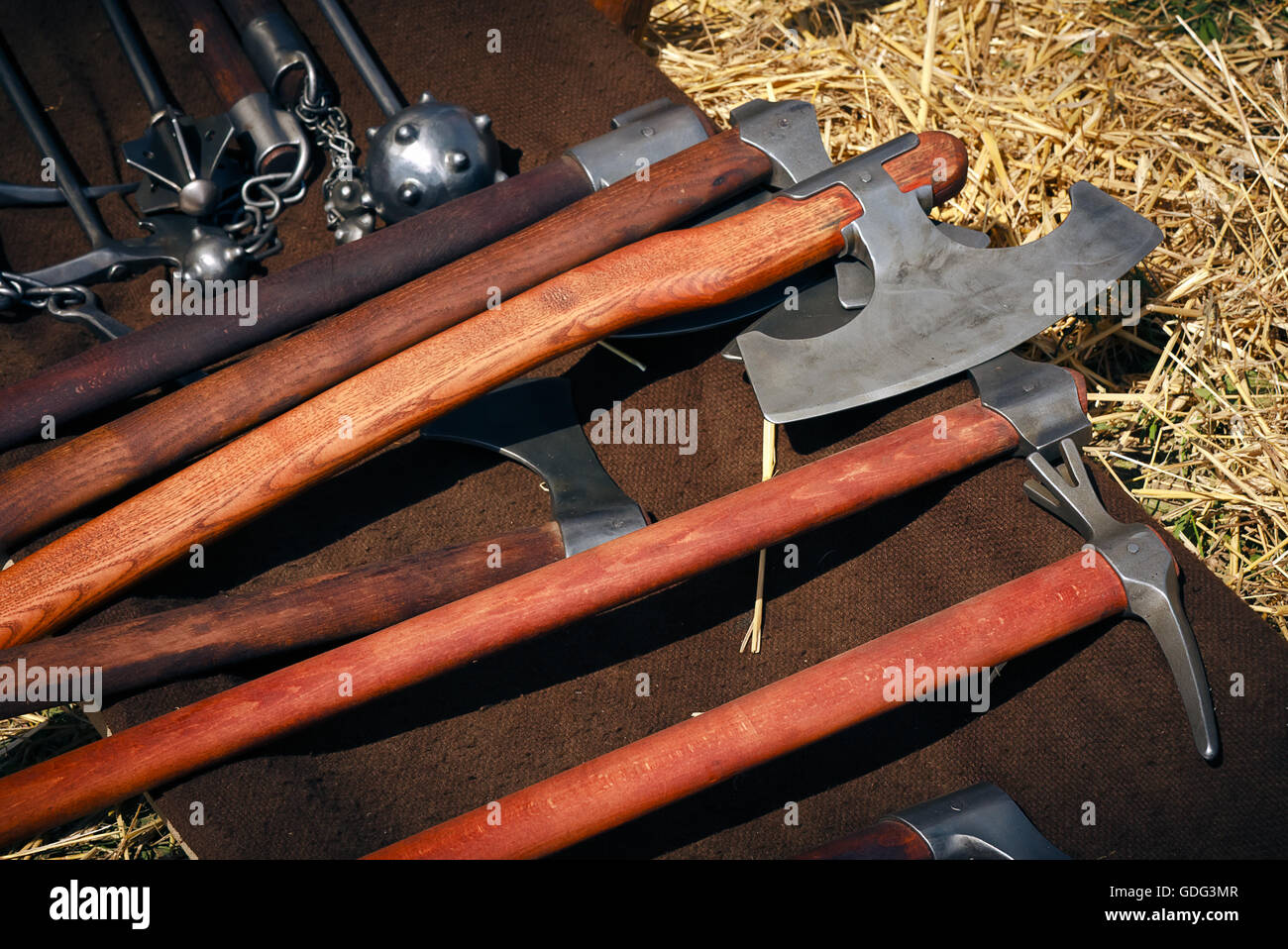 Medieval blunt weapon, battle axes and hammers Stock Photo