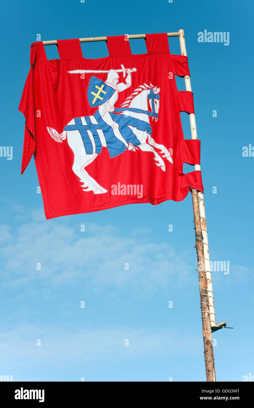 Medieval flag banner, knight on horseback Stock Photo