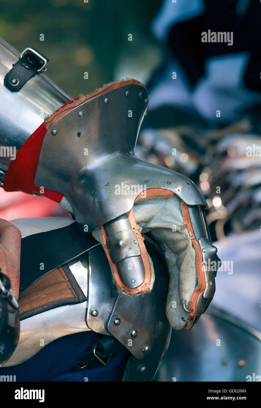 Medieval gauntlet gloves Stock Photo