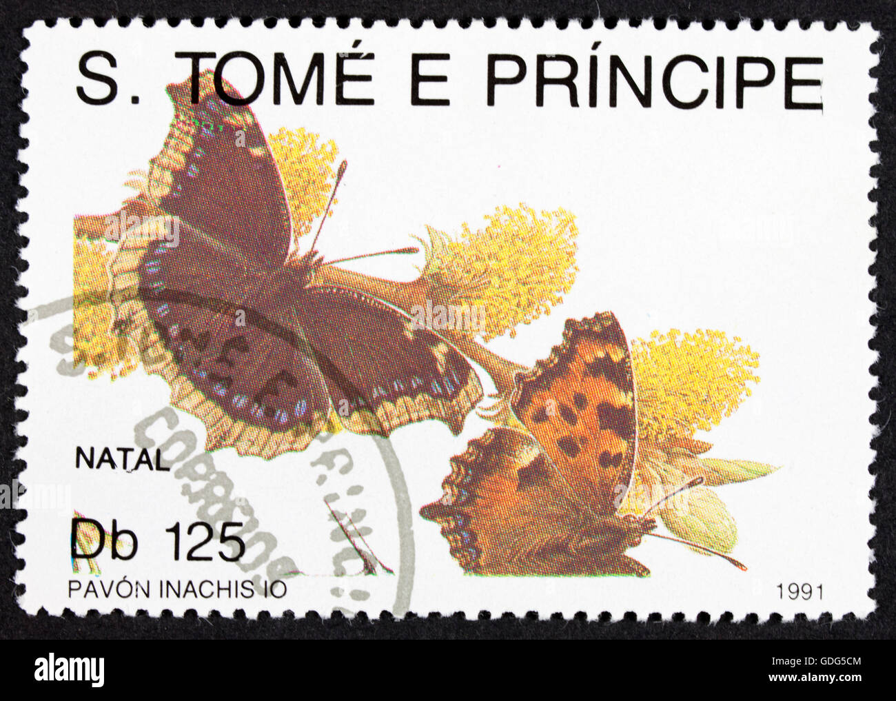GROOTEBROEK ,THE NETHERLANDS - MARCH 20,2016 : A stamp printed by Sao Tome e Principe, shows butterfly, circa 1991 - Stock Image